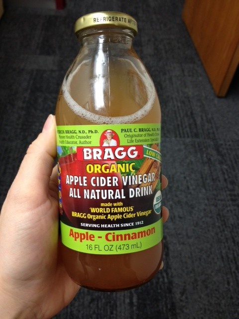 My favorite of all the flavors: Bragg Apple Cider Vinegar Apple Cinnamon Drink. You can hardly taste the ACV in this one.