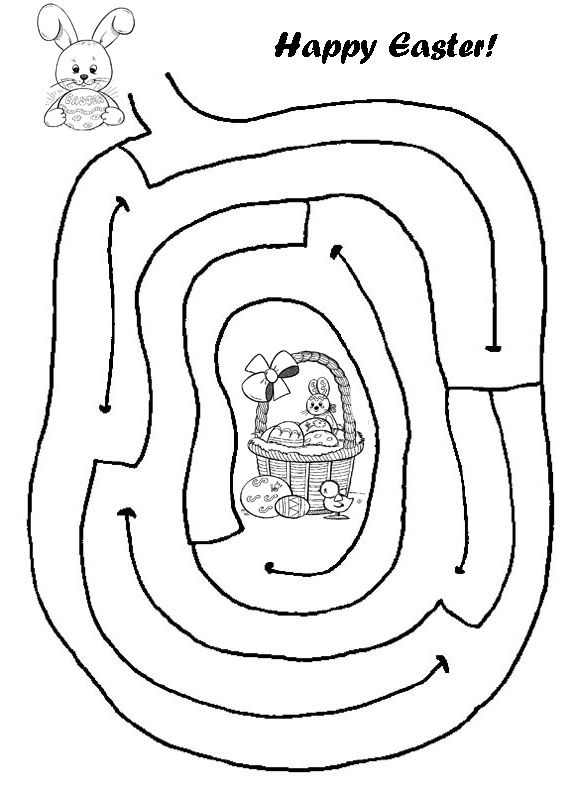 Easter Maze Help The Bunny Get To Basket By Drawing In His Route
