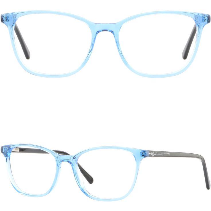 Rectangle Women's Acetate Plastic Frames Spring Hinges Prescription Glasses Blue