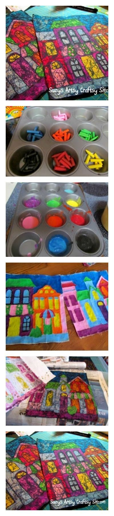 Create colorful batik fabric using melted crayons.  Easy-ish tutorial (some messiness will be involved)