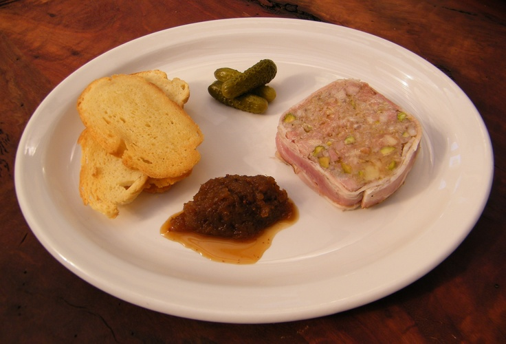Pork & pistachio terrine, Stanley apple relish & cornichons
