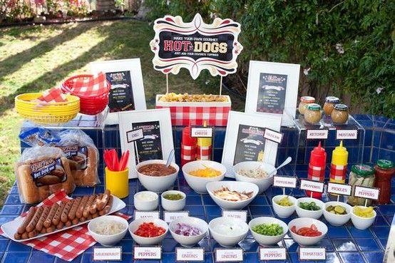 build your own hotdog/veggie dog stand
