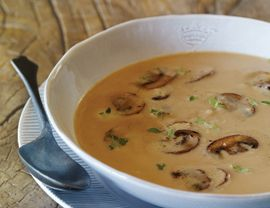 Classic Chestnut Soup with Marsala Mushrooms - This is my favorite holiday soup.  I skip the allspice, and splurge on the jarred chestnuts at Williams-Sonoma.