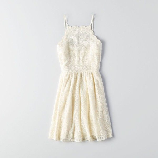AEO Scallop Lace Dress ($50) ❤ liked on Polyvore featuring dresses, ivory, scalloped lace dress, cream dress, white dress, american eagle outfitters and white scalloped dress