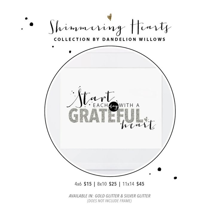 Shimmering Hearts Collection | Start Each Day With a Grateful Heart Print By Dandelion Willows Invitations + Stationery
