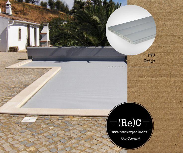 pvc grey slatted pool cover | pvc grijs zwembadafdekking lamellen | Schwimmbadabdeckung PVC grau Lamellen