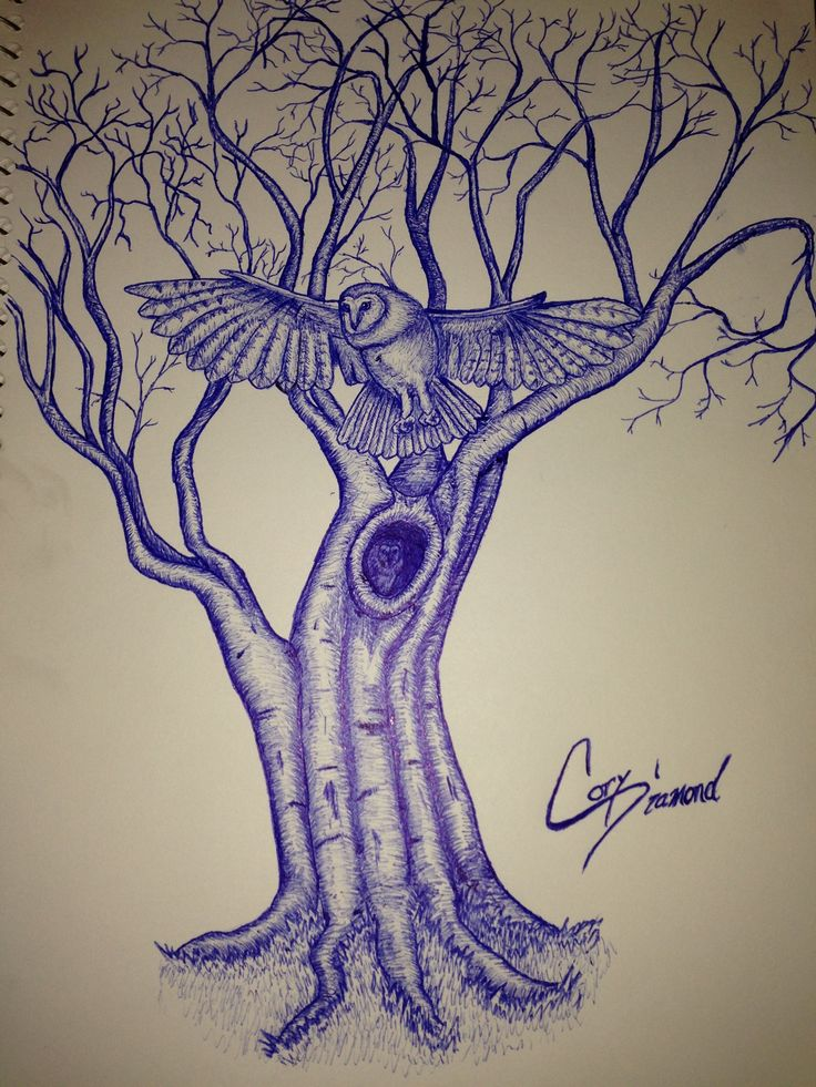 Owl Tree tattoo design, take 2 ink sketches Tree