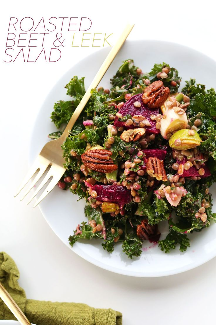 HEALTHY, satisfying winter salad with kale, lentils, roasted beets and leek and roasted pecans! #vegan #glutenfree #SALAD