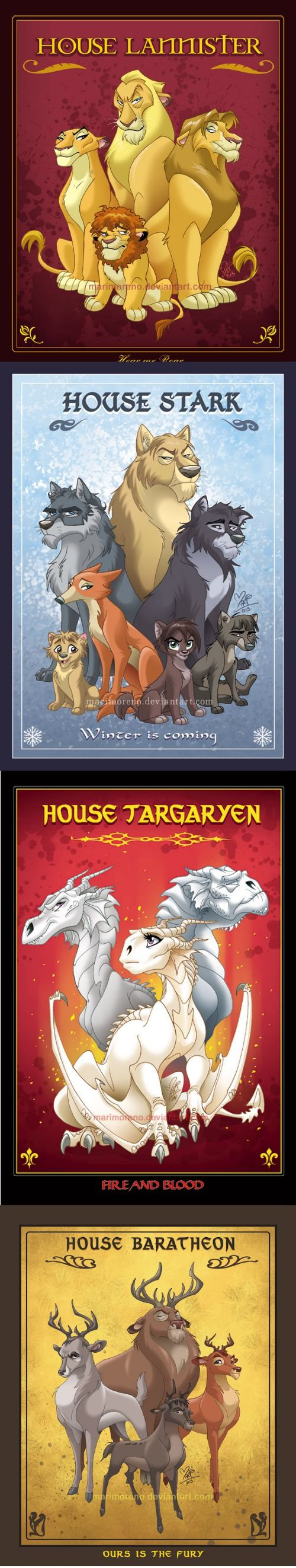 Disney Game of Thrones... House Lannister is the best one but the Arya wolf looks exactly like her