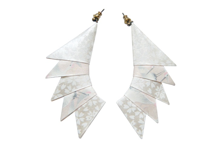 Orecchini Cresta | special edition! origami white paper earrings by Minikami €41