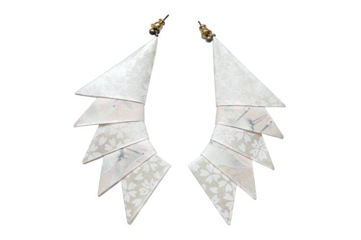 Orecchini Cresta White XMas | special edition! origami white paper earrings by Minikami €41