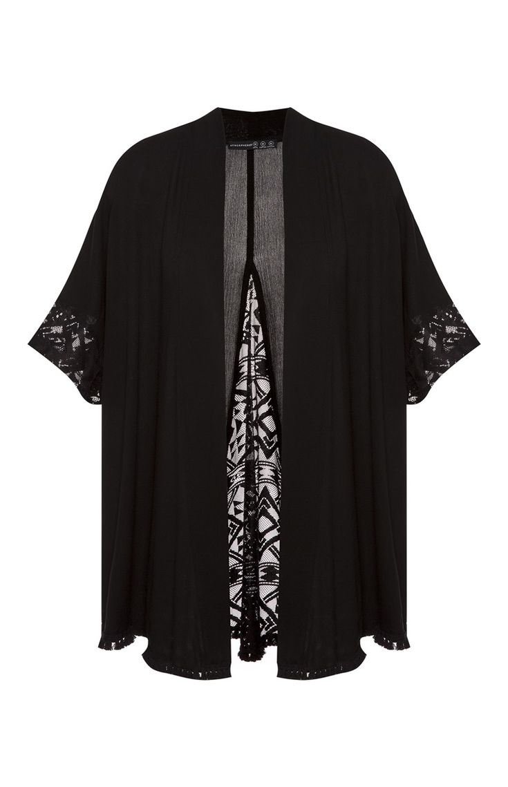 Primark - Kimono con detalle de encaje negro