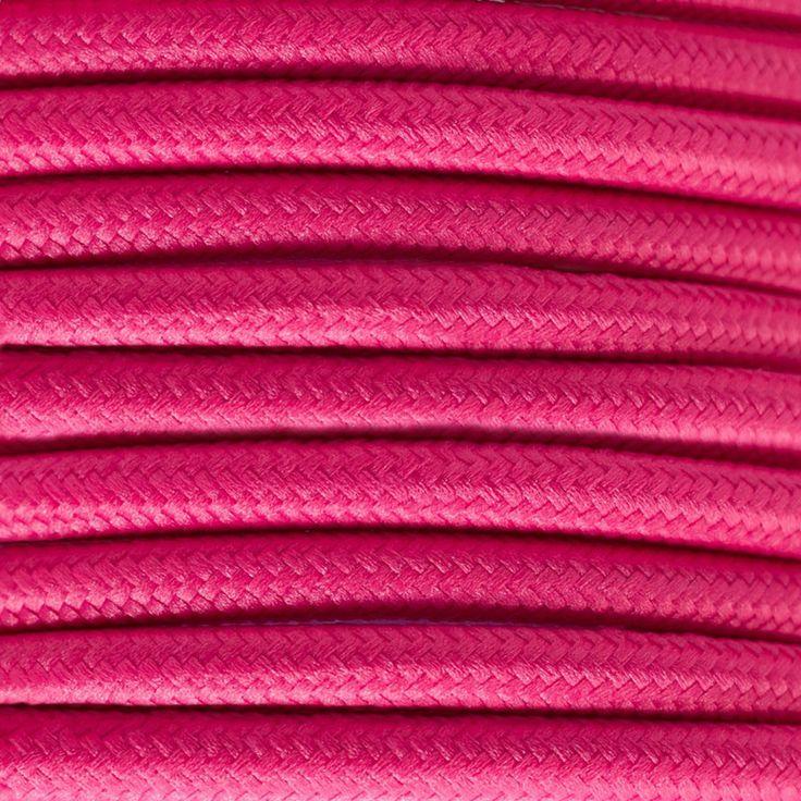 Comprar | Cable textil decorativo color fucsia | Comprar cables textiles eléctricos decorativos de colores  #iluminacion #decoracion #accesorioslamparas #lamparas #cablesdecolores #cableselectricos