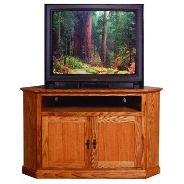 Delicieux Forest Designs Large Corner TV Stand In Mission Oak NOTE: Product Shown In  Red Finish