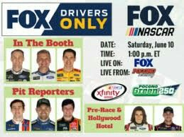 Watch as NASCAR Monster Energy Cup Series drivers Kevin Harvick, Clint Bowyer, and Joey Logano are in the booth, Danica Patrick, Denny Hamlin in the Hollywood Hotel, Ricky Stenhouse Jr, Erik Jones, and Ryan Blaney the pit road reporters.