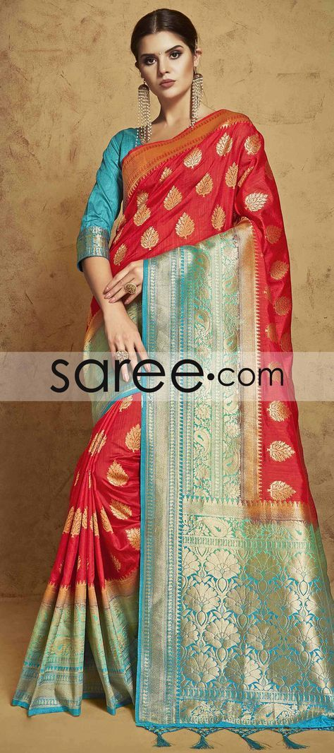 RED BANARASI SILK SAREE WITH ZARI #Saree #GeorgetteSarees #IndianSaree #Sarees #SilkSarees #PartywearSarees #RegularwearSarees #officeWearSarees #WeddingSarees #BuyOnline #OnlieSarees #NetSarees #ChiffonSarees #DesignerSarees #SareeFashion