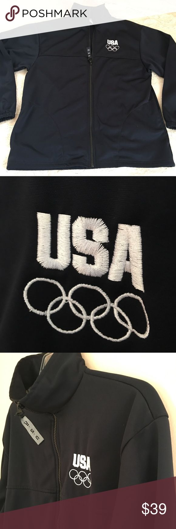 USA Official Team Olympic Warmer Jacket United States Olympic Committee Team  Men's Dark Navy Blue/Black Warmer Jacket Size L Preowned - gently used - very good condition Made in USA United States Olympic Committee Jackets & Coats Performance Jackets