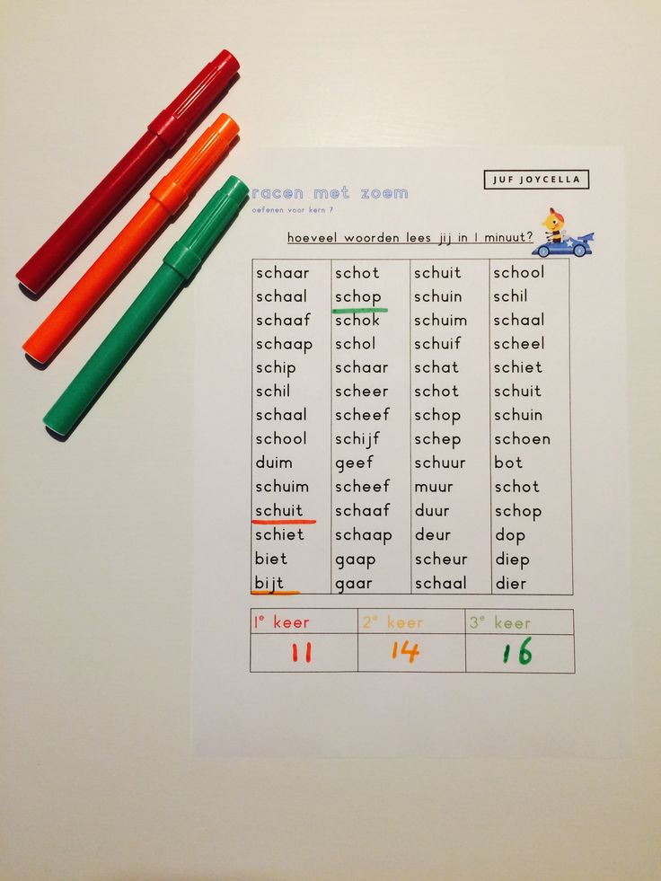 Oefenbladen om meer tempo te maken bij het lezen. Bladen bij kern 7, methode Veilig Leren Lezen. Race-lezen: Racen met Zoem.
