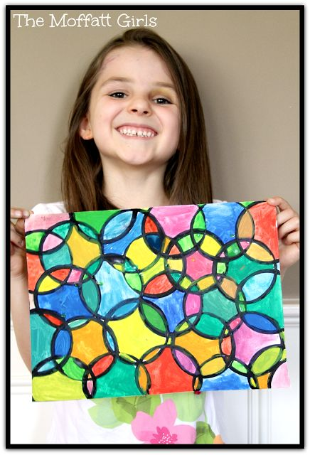 Easy Circle Painting Art - great for discussing colors! *Black tempera paint *A circle cup of some sort (a small plastic cup) *Heavy cardstock paper or drawing paper *Watercolors #shapes #colors #kids #craft #DIY #preschool #education #KidsFun #KidsArt