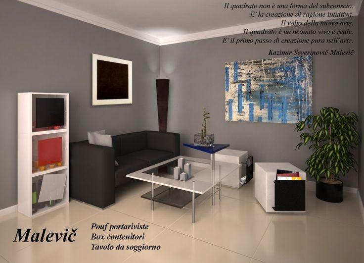 """""""Malevič"""" è un sistema di arredi ispirato alla pittura Suprematista di Kazimir Severinovič Malevič, che comprende un pouf con portariviste, dei box contenitori e un tavolino da soggiorno I dipinti suprematisti di Malevič rappresentano forme definite da un'algebra elementare che ha un codice primario: il quadrato nero.  Il quadrato nero è l'icona del suprematismo. È il simbolo iniziale di un sistema che genera tutte le forme suprematiste mediante un repertorio di distorsioni, spostamenti…"""