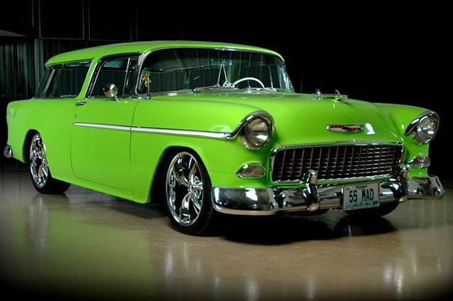 1955 Chevy Nomad. I honestly prefer the 56's, but with this paint job a '55 will do nicely, thank you! In my top 5 bucket list of cars!