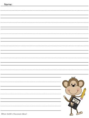 Curious George Free Printable Writing Paper - TWO FREEBIES! www.FernSmithsClassroomIdeas.com