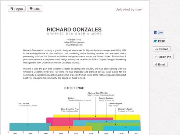 Richard Gonzalez's portfolio pin board features this resume, as well as samples of his work