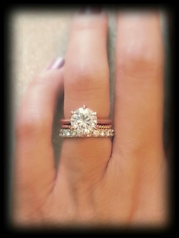 3ct equivalent moissanite on HomeschoolingBeeof4's 5.25 finger via weddingbee.com