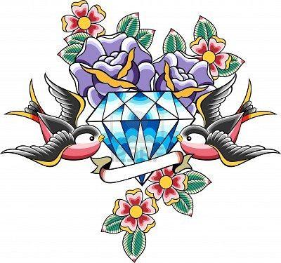 tatouage Bird et diamant