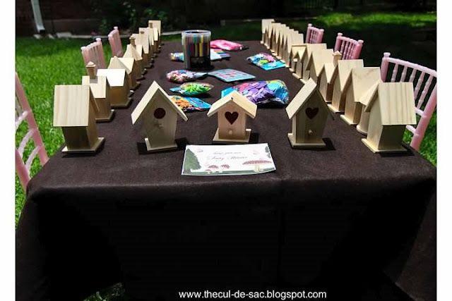 Woodland Fairy Birthday Party, bird houses, fairies, birthday party activities, woodland