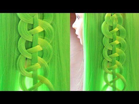 """6 урок - коса из 4 прядей """"Змейка"""" - Так можно украсить прямые распущенные волосы - YouTube"""
