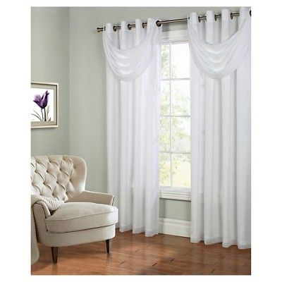 Thermavoile Rhapsody Lined Grommet Top Curtain Panel, White