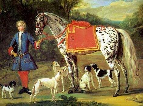 """Knabstrupper  2.  El origen de su historia se remonta al año 1671. Había un tipo de caballo español muy popular llamado """"Los Caballos Tigre"""". Eran probablemente los caballos Jinetes, o Jennet español, pero esta línea acabó cuando empezó a establecerse en España la cría selectiva del Pura Raza Español, en la que se fijaron las capas tordas como preferentes. Imagen: """"Lady Conaway's Spanish Jennet"""", de John Wooton"""