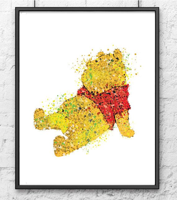 Winnie the Pooh Watercolor Print, Disney Art, Watercolor Print, Movie Poster, Nursery Decor, Baby Room Decor, Kids Room Decor, Wall Art -10a