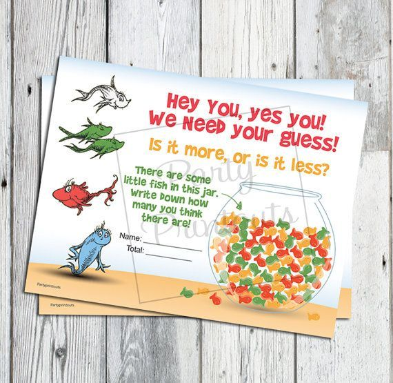 Dr Seuss Baby Shower Ideas | Dr Seuss Baby Shower Game Fish Bowl Guess Game by partyprintouts, $8 ...