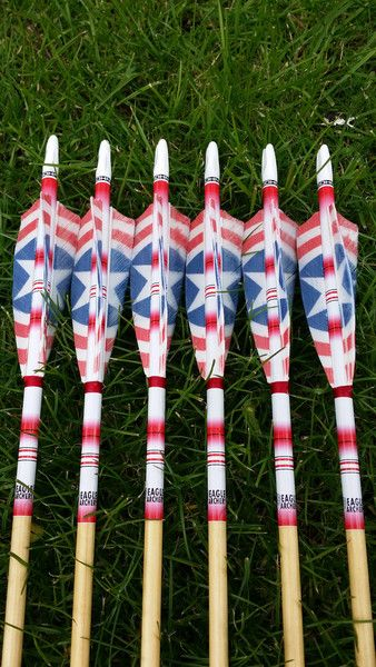 Custom made wood arrows with Captain America fletchings for English Longbow for field archery,target archery and clout shooting. Visit Eagle Archery for all of your traditional archery needs.