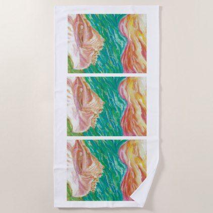Seashell Designer Beach Towel - artists unique special customize presents