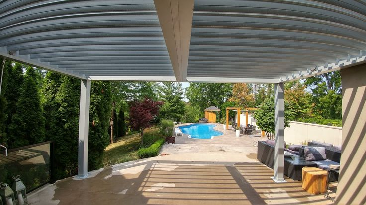 Two section Aluminum Pergola. #aluminumpergola #pergola #pool #pergolas #pergolaideas #backyard #backyards #landscaping #landscapingideas #canada