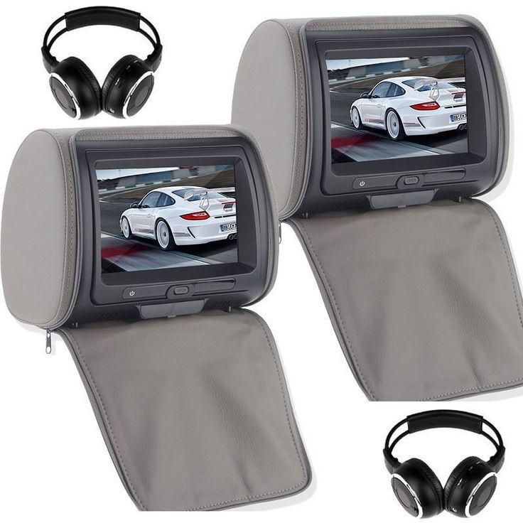 """Pair 9"""" TFT TouchScreen Car Pillow Headrest Monitor DVD Player Game+Headphones"""