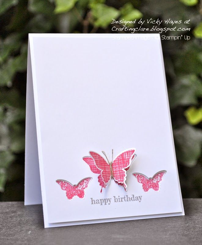 Dimensional butterflies card photo tutorial using Kinda Eclectic by Stampin' Up