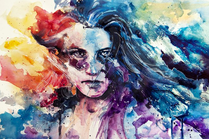 agnes-cecile: Paintings Art, Agnes Cecil, Watercolor Portraits, Watercolor Paintings, Rainbows Colors, Watercolor Pencil, Watercolors, Portraits Paintings, Water Colors