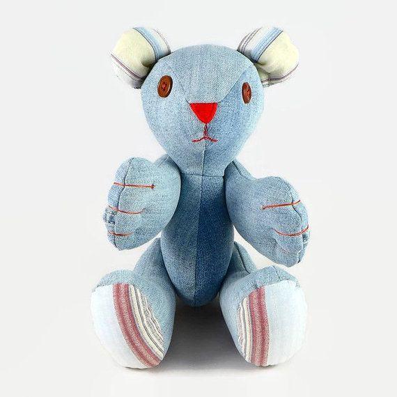 Ooak Teddy Bear Teddy Bear Plush Denim Teddy Bear by MiaPuPe