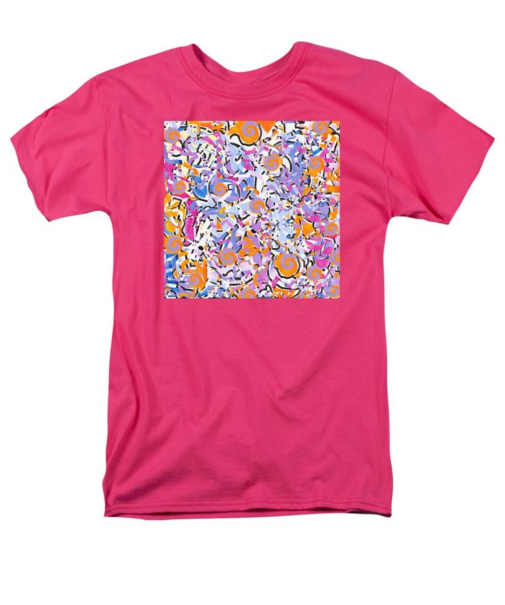 Confetti Feeling Happy Fun Contemporary Light-hearted Simple Spirals Men's T-Shirt (Regular Fit) featuring the painting Play Time by Expressionistart studio Priscilla Batzell