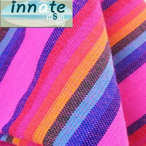 Pink Cambaya fabric with rainbow stripes  by InnateArtisanShop