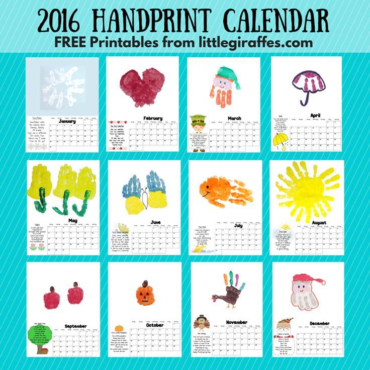 2016 Handprint Calendar {free printables}