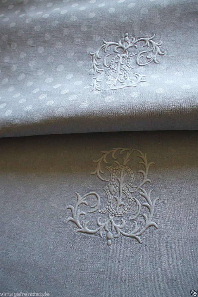 """ANTIQUE FRENCH LINEN  TABLECLOTH """"DUCK EGG BLUE"""" LINEN/SILK DAMASK TABLECLOTH  - Nobody Monograms like the French!"""