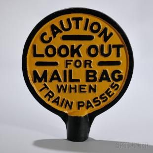 Cast Iron Railroad Mail Bag Sign and Bracket - Current price: $90