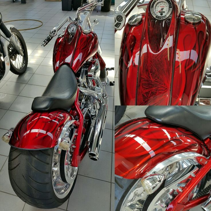 Our RAW metal finish with a apple red candy #galaxycustoms #custompaintjob #airbrushing #harleydavidson