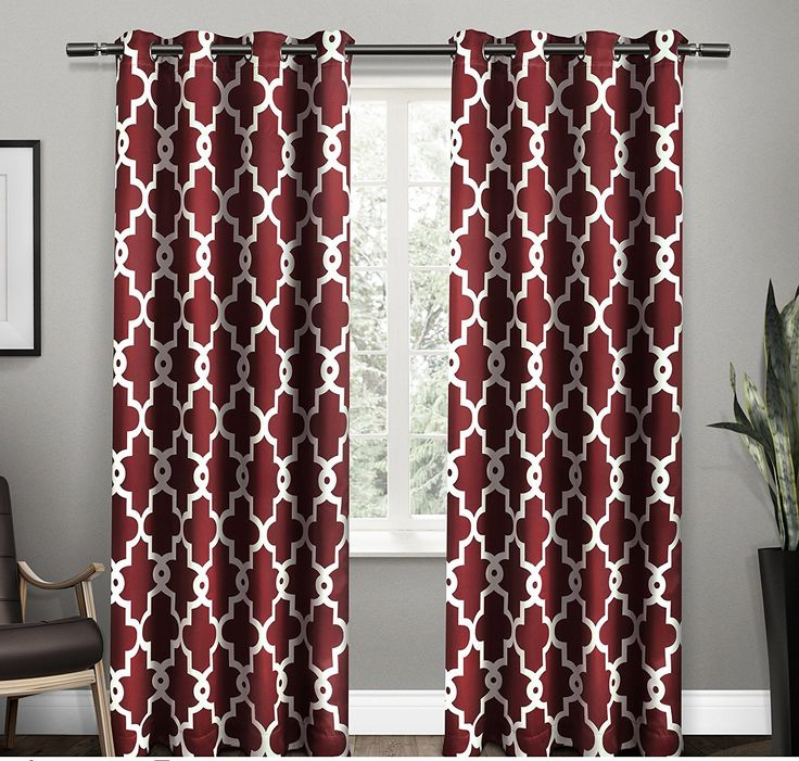 84 Inch Burgundy Red White Moroccan Curtains Panel Pair