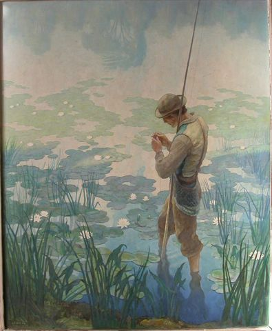 N. C. Wyeth (1882-1945) Thoreau Fishing 1936 Oil on hardboard (Renaissance Panel),